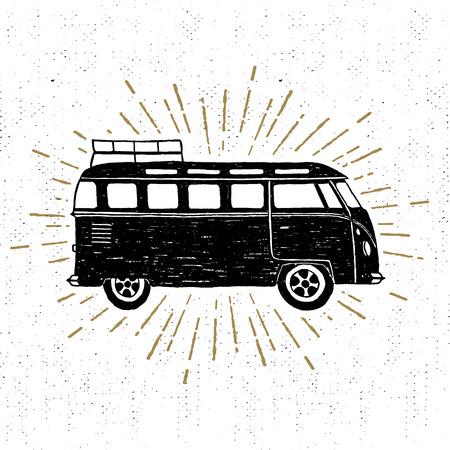 minivan: Hand drawn textured vintage icon with minivan vector illustration.