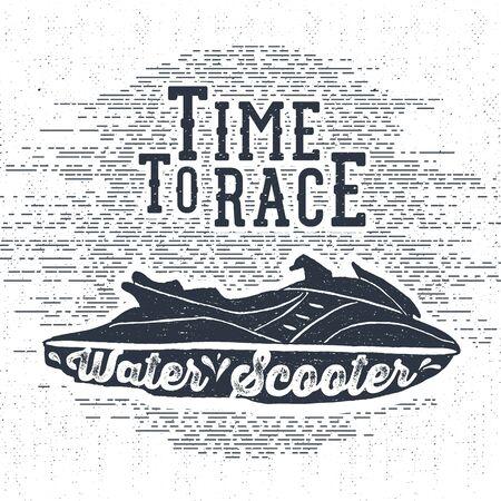 """scooter: Dibujado a mano la etiqueta de la vendimia con textura, placa retro con la ilustraci�n vectorial moto de agua y """"tiempo de carrera moto de agua"""" letras. Vectores"""