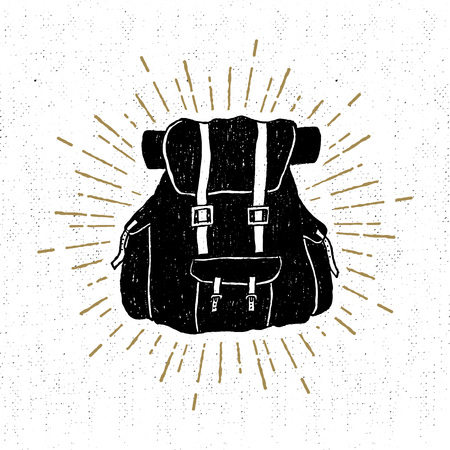 Hand drawn textured vintage icon with a backpack vector illustration.