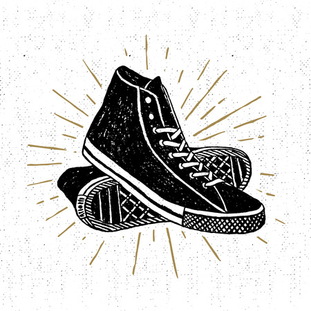 wanderlust: Hand drawn textured vintage icon with sneakers vector illustration. Illustration