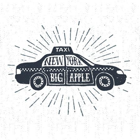 手描きの質感のビンテージ ラベル、レトロなバッジ タクシー ベクトル図とニューヨーク。大きなリンゴよ」の文字。
