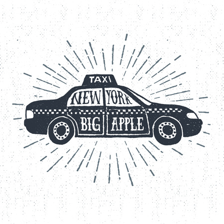 Hand drawn textured vintage label, retro badge with taxi vector illustration and New York. Big apple. lettering.