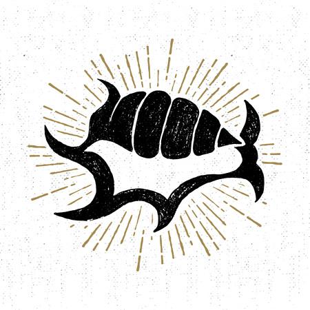 Hand getrokken uitstekende icoon met shell vector illustratie.