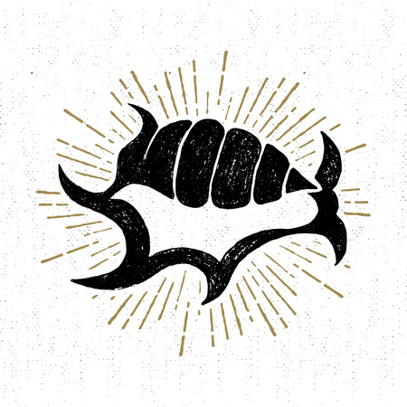 Hand drawn vintage icon with shell vector illustration.