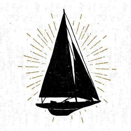 wanderlust: Hand drawn vintage icon with yacht vector illustration.