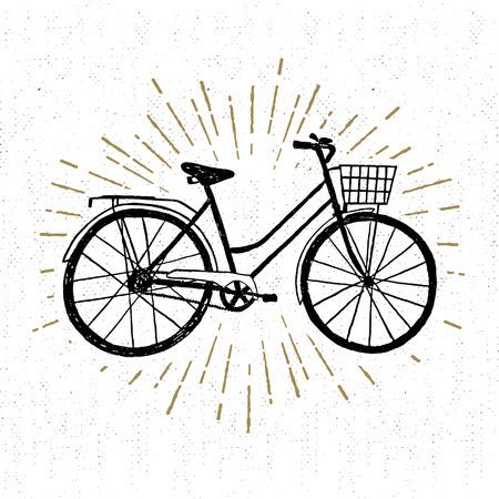 bicicleta vector: Dibujado a mano icono de la vendimia con la ilustración vectorial de la bicicleta. Vectores