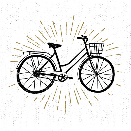 starburst: Hand drawn vintage icon with bicycle vector illustration.