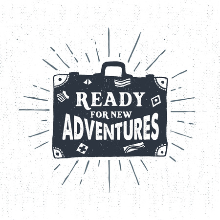 journeys: Hand drawn textured vintage label, retro badge with suitcase vector illustration and Ready for new adventures lettering.
