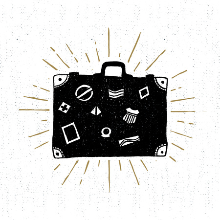 Hand drawn vintage icon with suitcase vector illustration. 矢量图像
