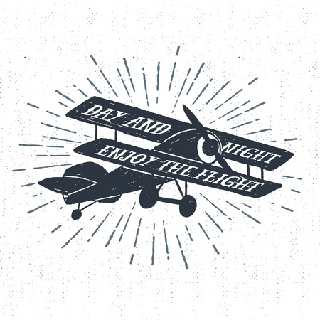 biplane: Hand drawn textured vintage label, retro badge with biplane vector illustration and Day and night - enjoy the flight lettering. Illustration