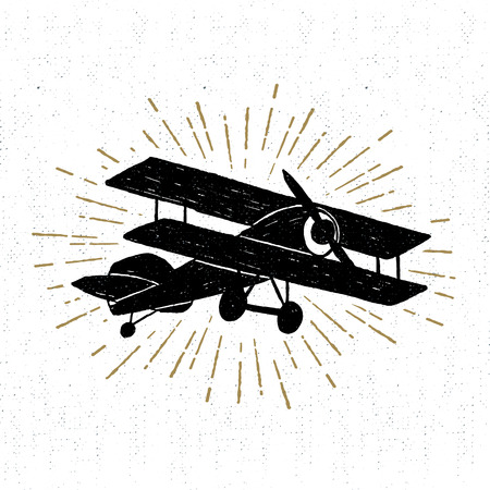 Hand drawn vintage icon with biplane vector illustration.