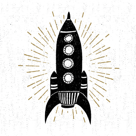 Hand drawn vintage icon with rocket vector illustration. 矢量图像