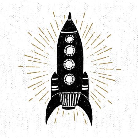 Hand drawn vintage icon with rocket vector illustration. Stock Illustratie