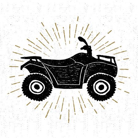 quad: Hand drawn textured icon with quad bike vector illustration. Illustration