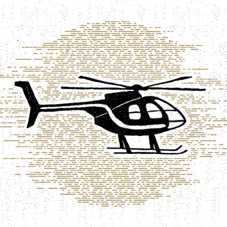 wanderlust: Hand drawn textured icon with helicopter vector illustration.