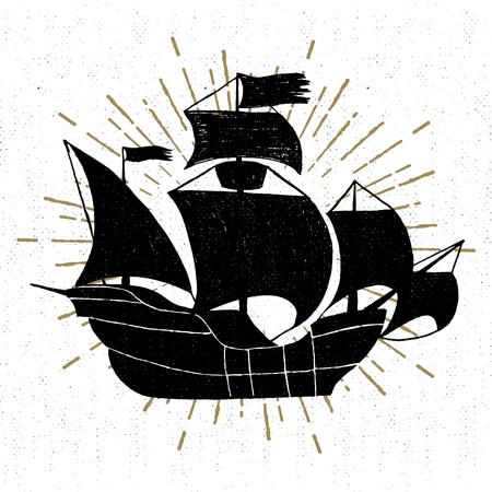 brig: Hand drawn textured vintage icon with galleon ship vector illustration. Illustration