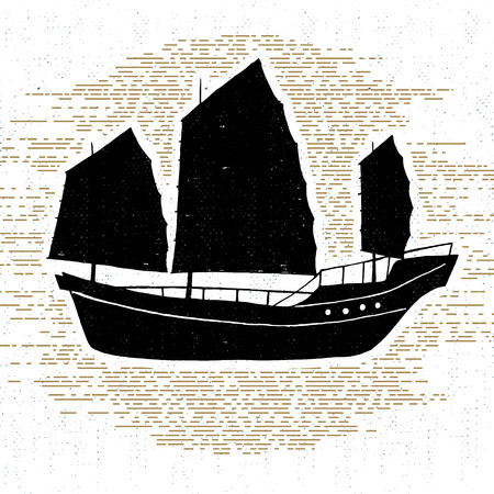 brig: Hand drawn textured vintage icon with ship vector illustration.