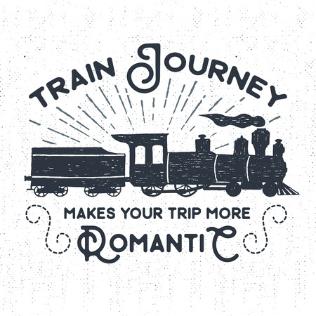 steam train: Hand drawn textured vintage label, retro badge with steam train vector illustration and Train journey makes your trip more romantic inspirational lettering.