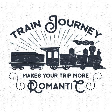 """Mano etiqueta dibujada la vendimia con textura, placa retro con la ilustración vectorial tren de vapor y """"El viaje en tren hace su viaje más romántico"""" letras de inspiración."""