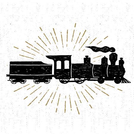 Dibujado a mano icono de la textura de la vendimia con la ilustración vectorial tren de vapor.