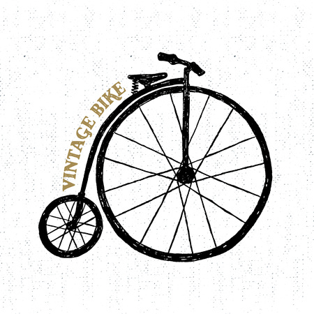 Hand drawn textured vintage icon with bicycle vector illustration.