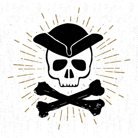 cocked hat: Hand drawn textured vintage icon with pirate skull vector illustration.