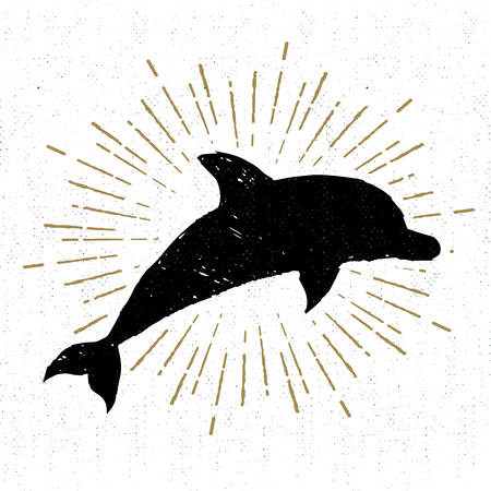 wanderlust: Hand drawn textured vintage icon with dolphin vector illustration.