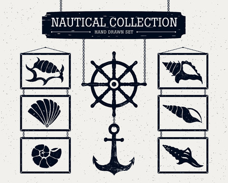 cockle: Hand drawn nautical collection of shells, anchor and ship helm.