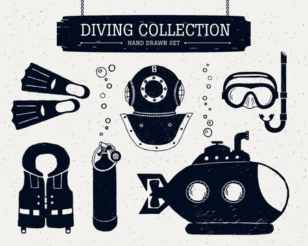 fins: Hand drawn diving collection of elements. Scuba mask, helmet, oxygen cylinder, life jacket, bathyscaphe, and fins.