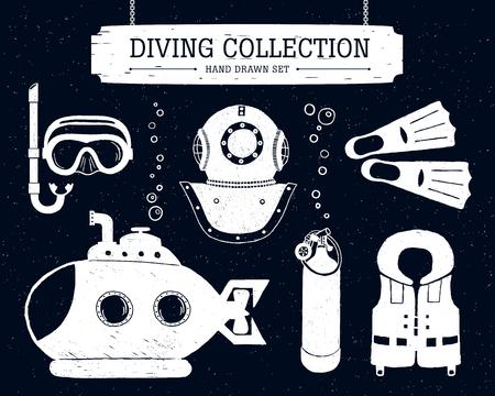 life jacket: Hand drawn diving collection of elements on black background. Scuba mask, helmet, oxygen cyllinder, life jacket, bathyscaphe, and fins.