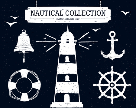 Hand drawn nautical collection of lighthouse, anchor, ship helm, lifebuoy, bell on black background.