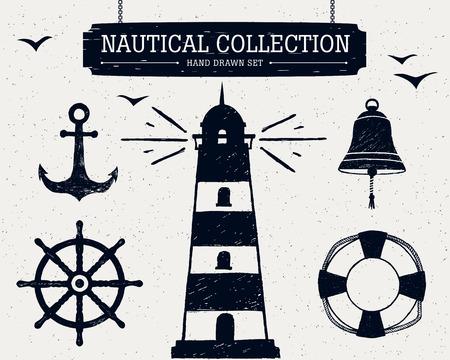 campanas: Dibujado a mano la colección náutica del faro, ancla, timón de barco y, salvavidas, campana.