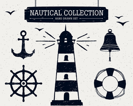 Hand drawn nautical collection of lighthouse, anchor, ship helm, lifebuoy, bell. 矢量图像