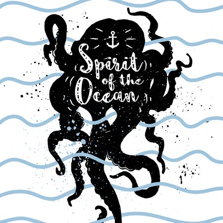 wanderlust: Hand drawn vintage nautical label, clothing apparel print, retro badge vector illustration with octopus, waves, and lettering.