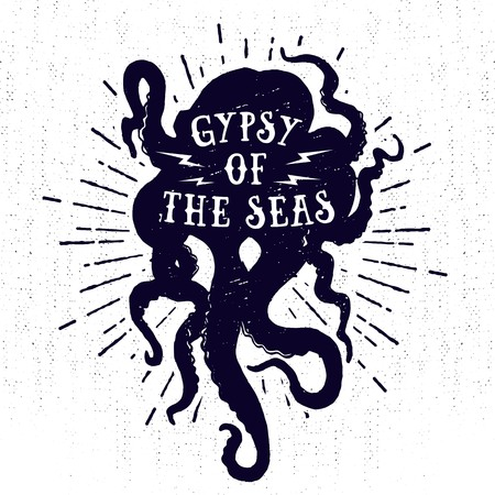 Hand drawn monochrome vintage nautical label, clothing apparel print, retro badge vector illustration with octopus, starburst, and lettering.