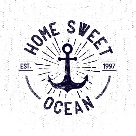 Hand drawn monochrome vintage sailor label, clothing apparel print, retro badge vector illustration with anchor, starburst, and lettering.