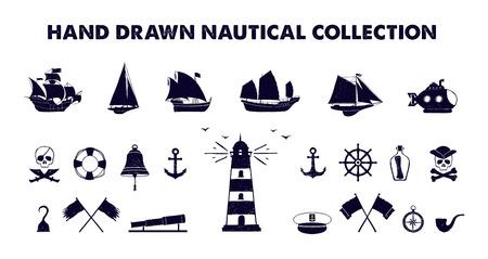 Hand drawn texturée collection d'illustrations vectorielles marines. Vecteurs