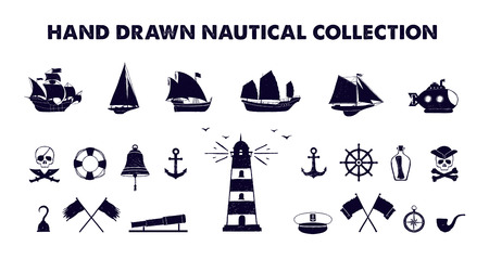 captain cap: Hand drawn textured marine vector illustrations collection.