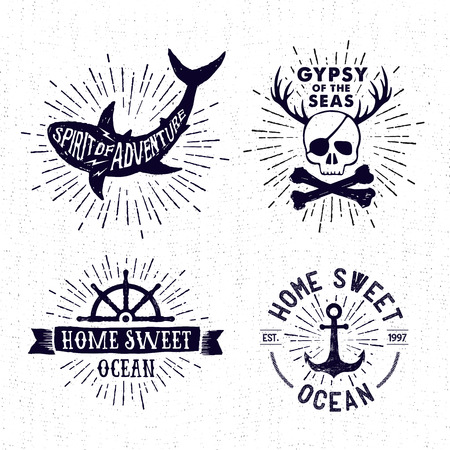 Hand drawn textured vintage badges set with shark, pirate skull, steering wheel, anchor, and inspirational lettering.