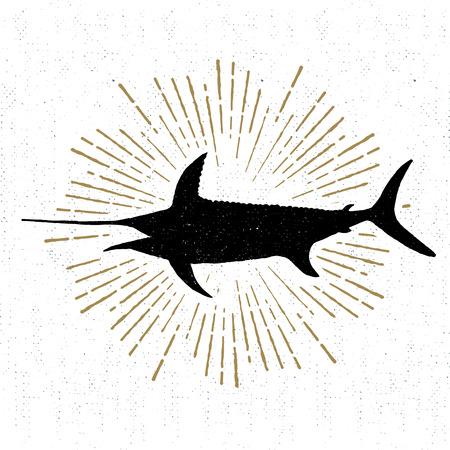 pez espada: icono de textura con la ilustraci�n de pez espada. Vectores