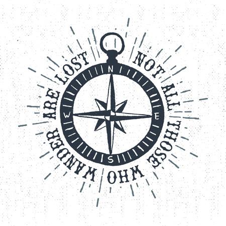 """gestructureerde vintage etiket, retro badge met kompas steeg illustratie en """"Niet iedereen die dwalen zijn verloren"""" inspirerende belettering."""