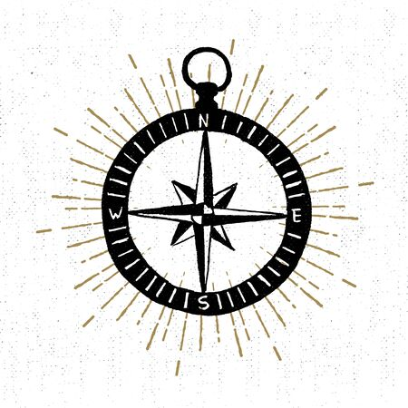 compass rose: textured icon with compass rose illustration. Illustration