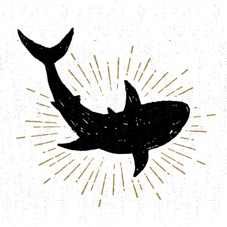 wanderlust: textured icon with shark illustration.