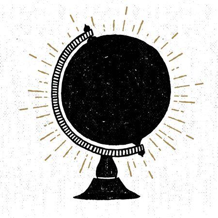 textured icon with globe illustration. Иллюстрация