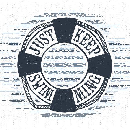 """swim: etiqueta de la vendimia con textura, placa retro con la ilustración de la boya de vida y """"Sólo seguir nadando"""" letras de inspiración."""