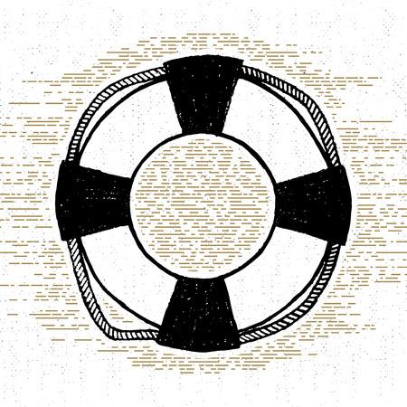 buoy: textured icon with life buoy illustration. Illustration
