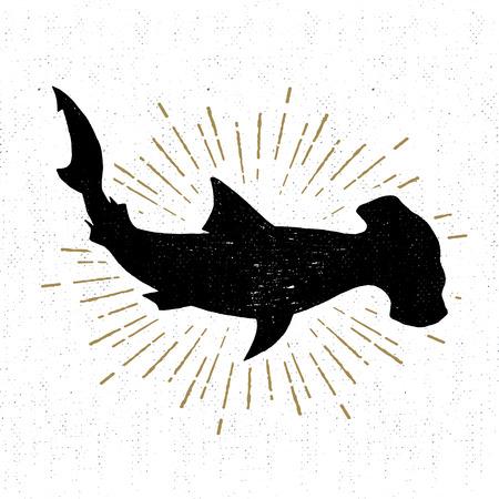 pez martillo: icono de textura con la ilustración de tiburón martillo. Vectores