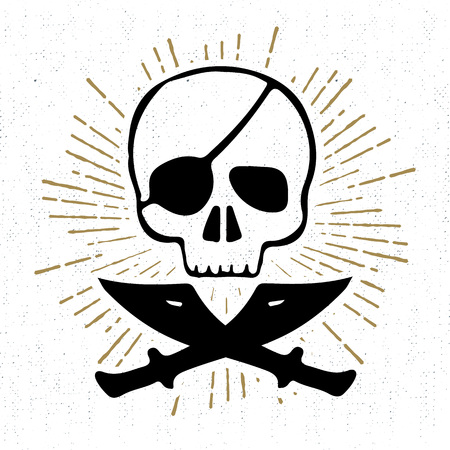 textured: Hand drawn textured icon with pirate skull vector illustration.