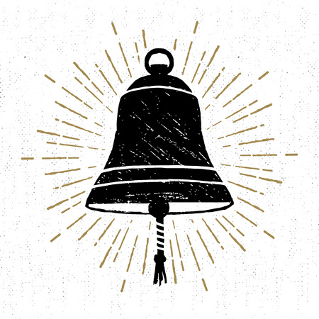 Hand drawn textured icon with ships bell vector illustration.