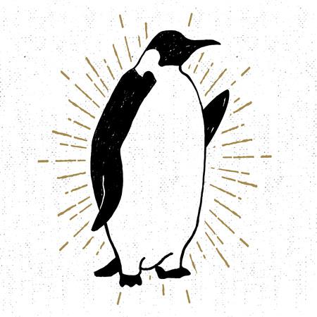 手には、皇帝ペンギンのベクトル図とテクスチャのアイコンが描画されます。  イラスト・ベクター素材
